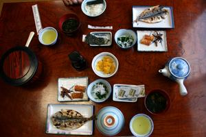 Traditional Japanese Food, Breakfast, dried fish and rice