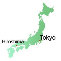 Hiroshima and Miyajima location, Map, Japan