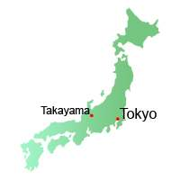 Takayama location, Map, Japan