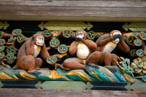 See no Evil, Hear no Evil, Speak no Evil, Monkey carving, Nikko