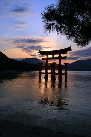 Miyajima shrine at sunset, dusk
