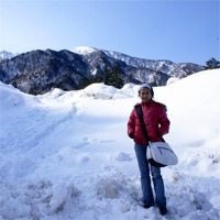 Snow piled up at busstop in the Japanese Alps, in between Matsumoto and Takayama, Japan